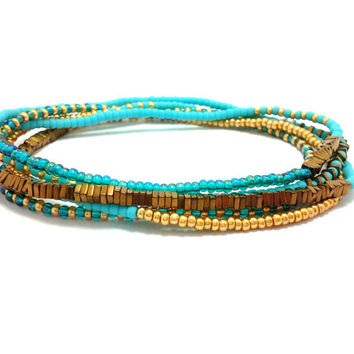 Beaded stretch wrap bracelet, multi strand seed bead bracelet, boho jewelry, bohemian, stackable, anklet, necklace, turquoise, gold, copper