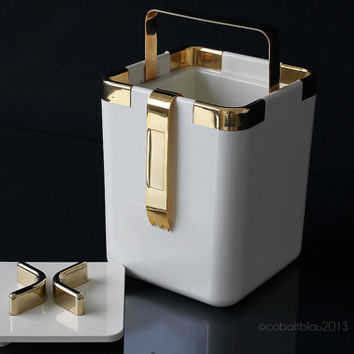 Gold and White Ice Bucket with Ice Tongs Hollywood Regency Gold Home Decor Mid Century Barware Gold Bar Cart Accessories Cocktail Set