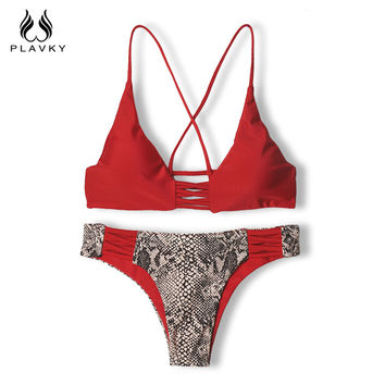 Sexy Red/Pink Serpentine Floral Bikini Reversible Swim Wear Bathing Suit Swimsuit Swimwear Women Bikini