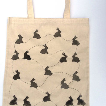 Hand painted Tote Bag Rabbit Hand drawn Cotton Canvas Shopping Bag -Large Size