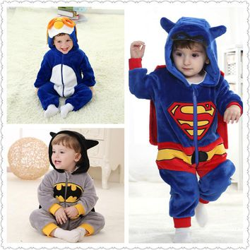 Baby Boy Girl Hooded Rompers Cartoon Cosplay Costume Newborn Infant Jumpsuit Spiderman Batman America captain Superman Clothes