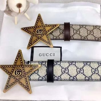 GUCCI Stylish Women Men Five-Pointed Star Buckle Leather Belt Width 3.8 CM With Box