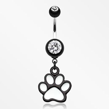 Paw Print Belly Button Ring