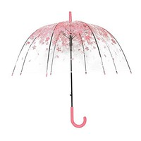 Transparent Clear Umbrella Cherry Blossom Mushroom Princess Women Rain Umbrella Sakura Long Handle Umbrellas