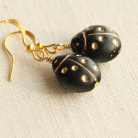Black and Gold Ladybug Earrings