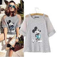Stylish Round-neck Short Sleeve Mouse Embroidery Women's Fashion Tops T-shirts [5013405700]
