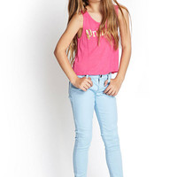 FOREVER 21 GIRLS Princess Tank Top (Kids) Pink/Gold