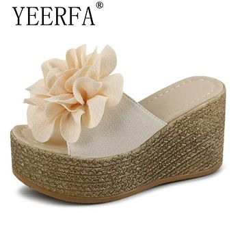 Summer Platform Wedges Flip Flops Women Flowers Beach Sandals Fashion Casual Mid Heels Bohemian Shoes