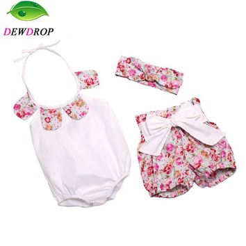 New baby clothes romper+shorts+Headbands 3pcs/Sets summer boutique baby girl vintage floral ruffle Diaper Cover short for girl