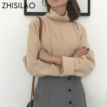 ZHISILAO Turtleneck Sweater Woman Autumn Winter Warm Solid Pullover Sweater Cotton Mujer Casual Long Sleeve Ladies Clothing Chic