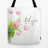 Pink tulips Tote Bag by Sylvia Cook Photography