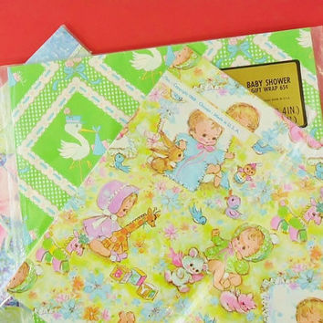 Vintage Baby Shower Gift Wrapping Paper Set of Three 3 Packages NOS 1960s Newborn Gift Wrap for Babies