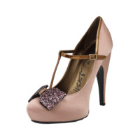 T-STRAP GLTTR BOW TOE PUMP