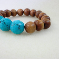 Natural Wood with Disco Faceted Turquoise by StarBurstJewels