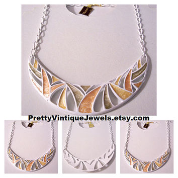 Monet Bimini Palm Leaf Runway Choker Necklace Gold Tone Vintage White Green Orange Yellow Enamel Slotted Pendant Swirl Open Chain Links