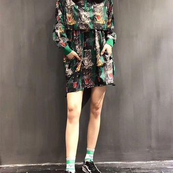 DCCKH3L Gucci' Women Fashion Tiger Head Print Loose Hoodie Long Sleeve Pullover Medium Long Section Windbreaker