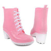 Platform High Heel Lace Up Candy Color Rubber Rain Boot