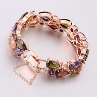 Trendy Charm Crystal Bracelet Rose Gold Plated Bangle Colorful Water Drop Love Friendship Bracelet for  Jewelry