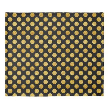 Faux gold dots pattern duvet cover