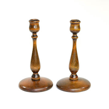 Turned Wood Candlestick Pair - Elegant Handcrafted Wooden Rustic Styling - Table Centerpiece Taper Candle Holders - Vintage Home Decor