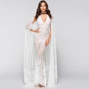 High quality white lace wedding party dress sexy v neck elegant see throuth sleeveless Mermaid Women's Tunic vestidos long style