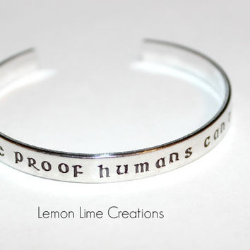 Books Are Proof Humans Can Do Magic, Cuff Bracelet, Aluminum Cuff Bracelet, Book Lover Gift, Bookworm Present, Bookish, Literary, Library