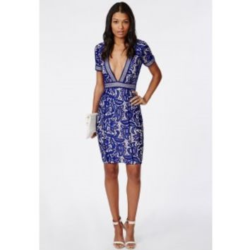 Missguided - Jess Mixed Lace Deep V Midi Dress Cobalt Blue