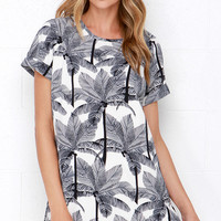 Going, Going Palm Ivory and Navy Blue Print Dress
