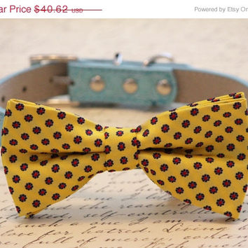 Blue and Yellow Dog Bow tie, Colorful Dog Bow Tie, Sunny Day - Dog Bow Tie attached to Blue leather collar, Wedding accessory, Beach wedding