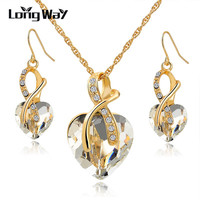 Austrian Crystal Necklace Earrings Set Luxury Gold Plated Heart Crystal Jewelry Set For Women Engagement Jewelry Sets SET140044