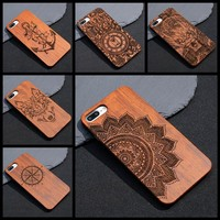 Mandala Wood Bamboo Case For iPhone 7 6 6S 5s 8 Plus X For Samsung Galaxy S7 Edge S8 Plus Mobile Phone Case Wooden PC Hard Cover