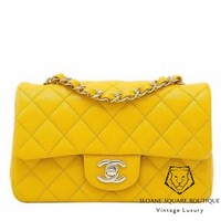 CHANEL BAG MINI RECTANGULAR CLASSIC FLAP YELLLOW CAVIAR SILVER HARDWARE BNWT SHW