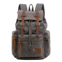 "Gray Casual Vintage School Hiking Canvas Backpack - 17"" Laptop Compartment $66.99"