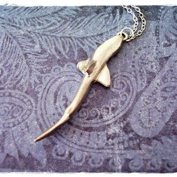 Large Shark Necklace - Antique Pewter Shark Charm on a Delicate 18 Inch Silver Plated Cable Chain