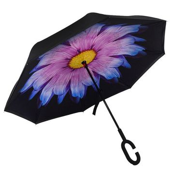 Ceiourich 3D Peacock Flower Umbrella Women Men Travel Fishing  Hiking Shopping Camping Reverse Umbrellas Umbrella-001