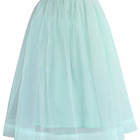 Mint Organza Midi Skirt Green