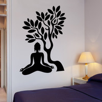 Buddha Vinyl Decal Buddha Tree Blossom Yoga Meditation Relaxation Zen Mural Art Wall Sticker Living Room Bedroom Home Decor