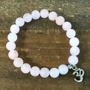 Matte Rose Quartz 'Love' Bracelet with Om Charm
