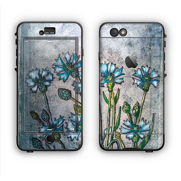 The Watercolor Blue Vintage Flowers Apple iPhone 6 LifeProof Nuud Case Skin Set