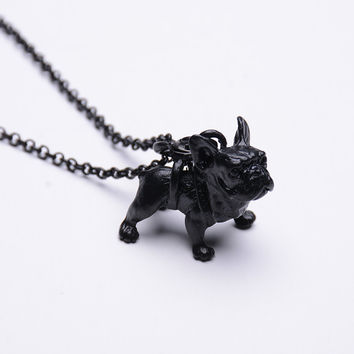 Boho Hippie Cute French Bulldog Necklace Collier Femme Lovely Dog Breed Pendant Choker Statement Necklace for Women