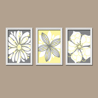 Yellow Gray Wall Art Canvas Artwork Baby Room Flower Petal Burst Outline Dahlia Floral Bloom Set of 3 Prints Decor Bedroom Nursery Three