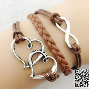 Infinity heart-to-heart charm bracelet, brown braided leather bracelet, friendship personalized jewelry for girls and boys
