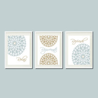 Modern Floral Flower Flourish Artwork Set of 3 Prints Or Canvas Relax Rejuvenate Refresh Brittany Blue Tan BATH Art Decor Bathroom Picture