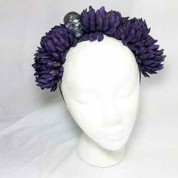 Day of the Dead Purple Flower Skull Headband/Frida Kahlo Headband/Dia de los Muertos Hair Accessory/Headpiece