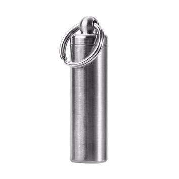 1Pcs Stainless Steel Waterproof Medicine Bottle Keychain Survival Camping Pill Box Container Holder Emergency EDC Travel Kits