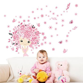 Fairies Girl Flower Butterfly Wall Stickers For Kids Rooms