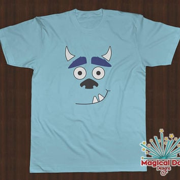 "Disney Shirts -James P. Sullivan ""Sully"" Smile - Monsters Inc (Black, White & Blue Design)"