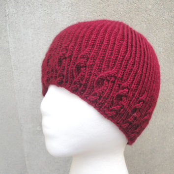 Beanie Hat for Men, Women, Teens, Hand Knit, Vegan, Cable - Ribbed