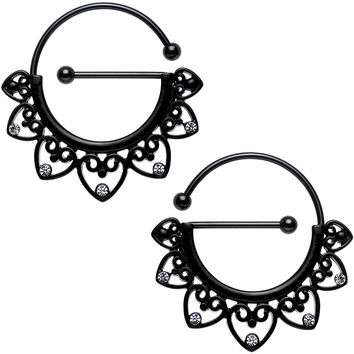 Clear Gem Black PVD Barbell Filigree Heart Universal Nipple Ring Set