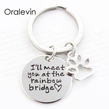 I WILL MEET YOU AT THE RAINBOW BRIDGE Pet Loss Charms Keychain